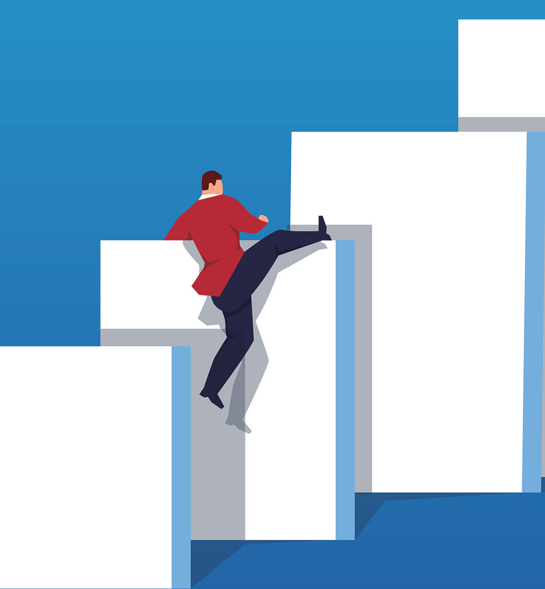 illustrated climbing man mobiel