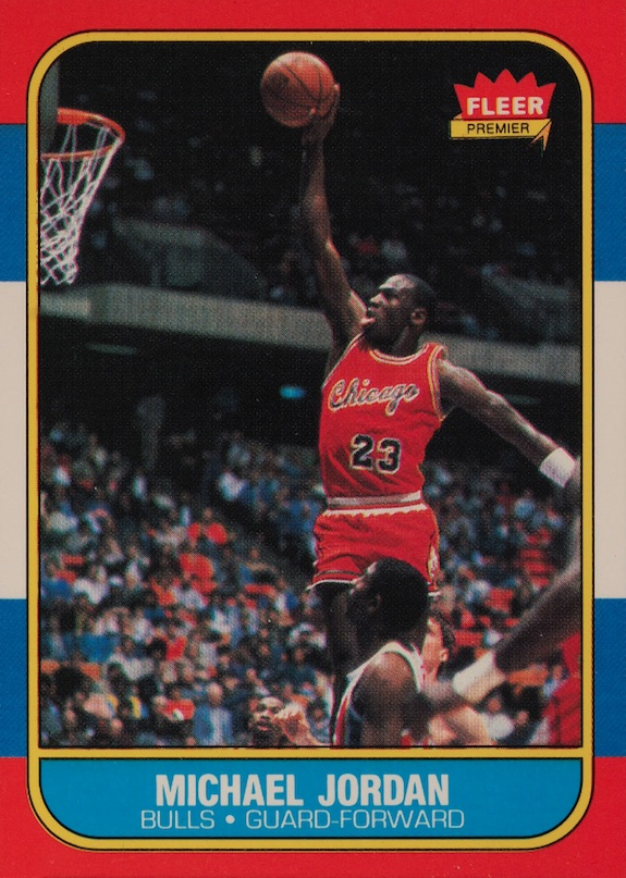 1986 87 fleer michael jordan 57 rc authentic rookie card