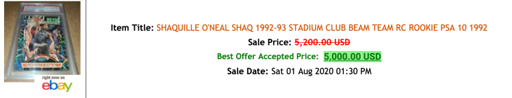 shaq beam team ebay sold