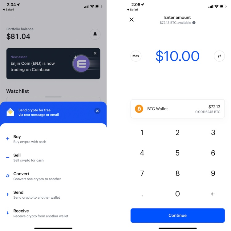 how to send bitcoin from coinbase